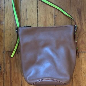 Coach Leather Bucket Bag - Brown w/ green constast